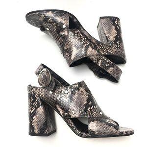 Topshop Python Block Heel Slingback Mules Leather